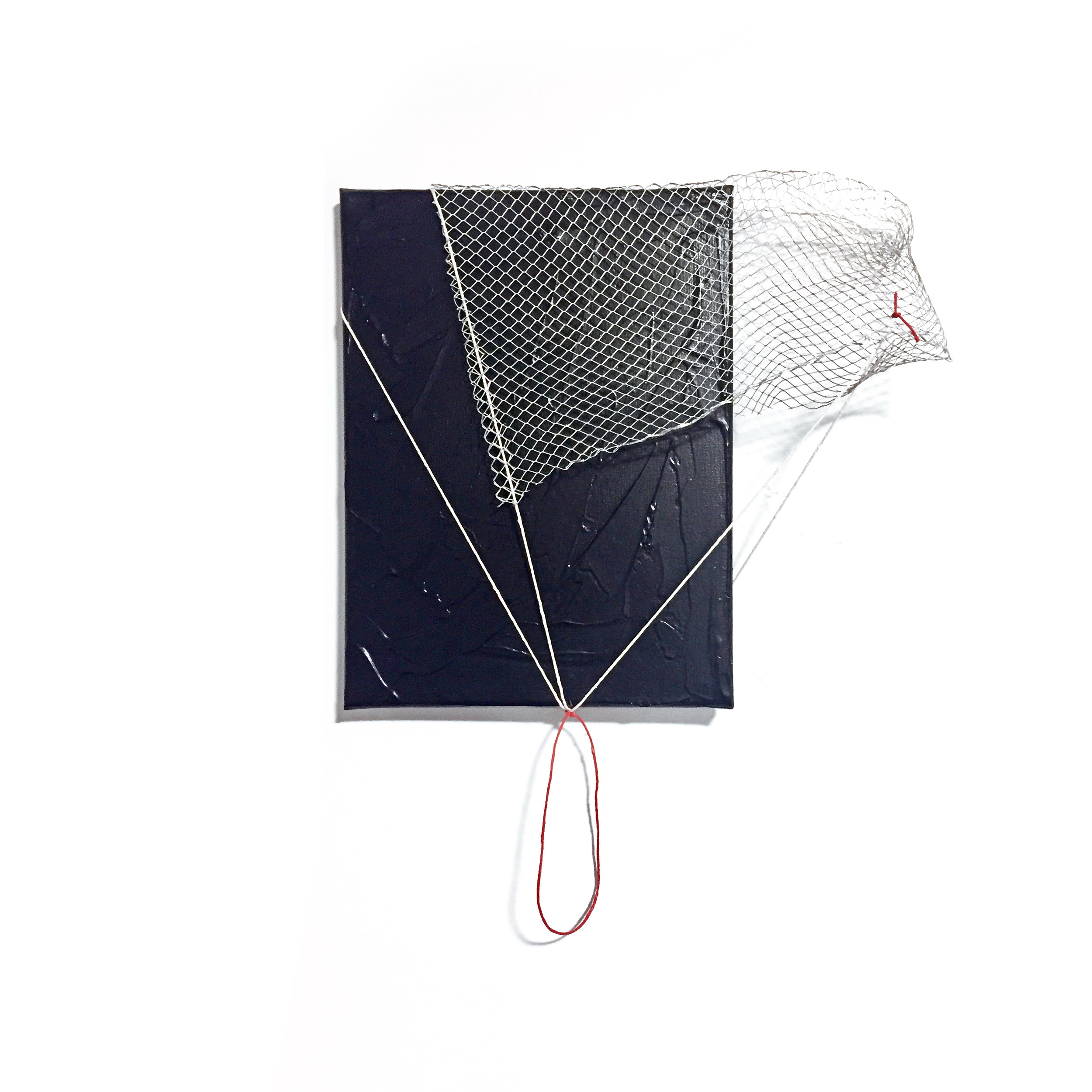 "Untitled (Black, Red and White), 2018, acrylic, string and wire mesh on canvas, 18"" x 14"" x 4"""