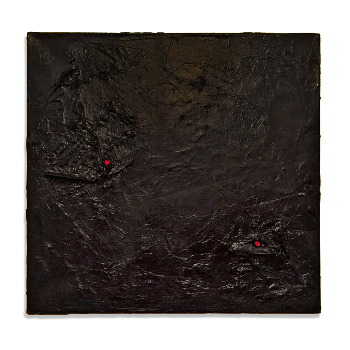 "Separate Ways (Textural Black with Two Red Nodes), 2015, acrylic, paper, twine, staples, and metal on canvas, 20"" x 21"""