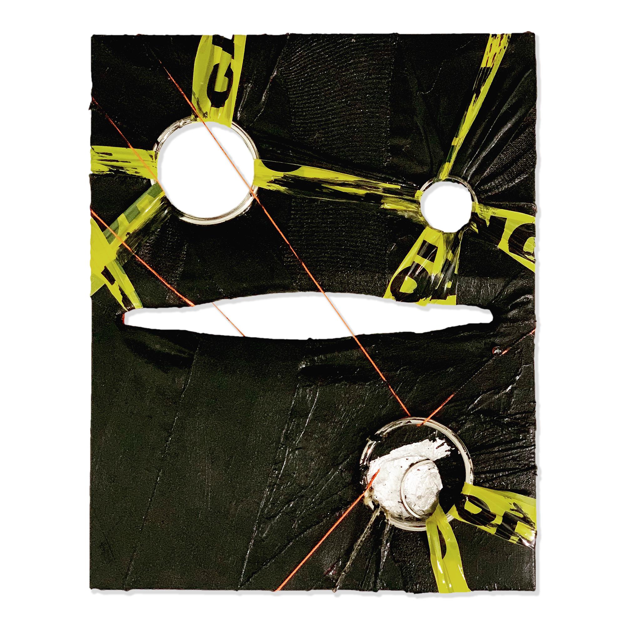 "Alex Markwith, Quadruple Void (Black, Orange, Caution), 2019, 20 x 16"""