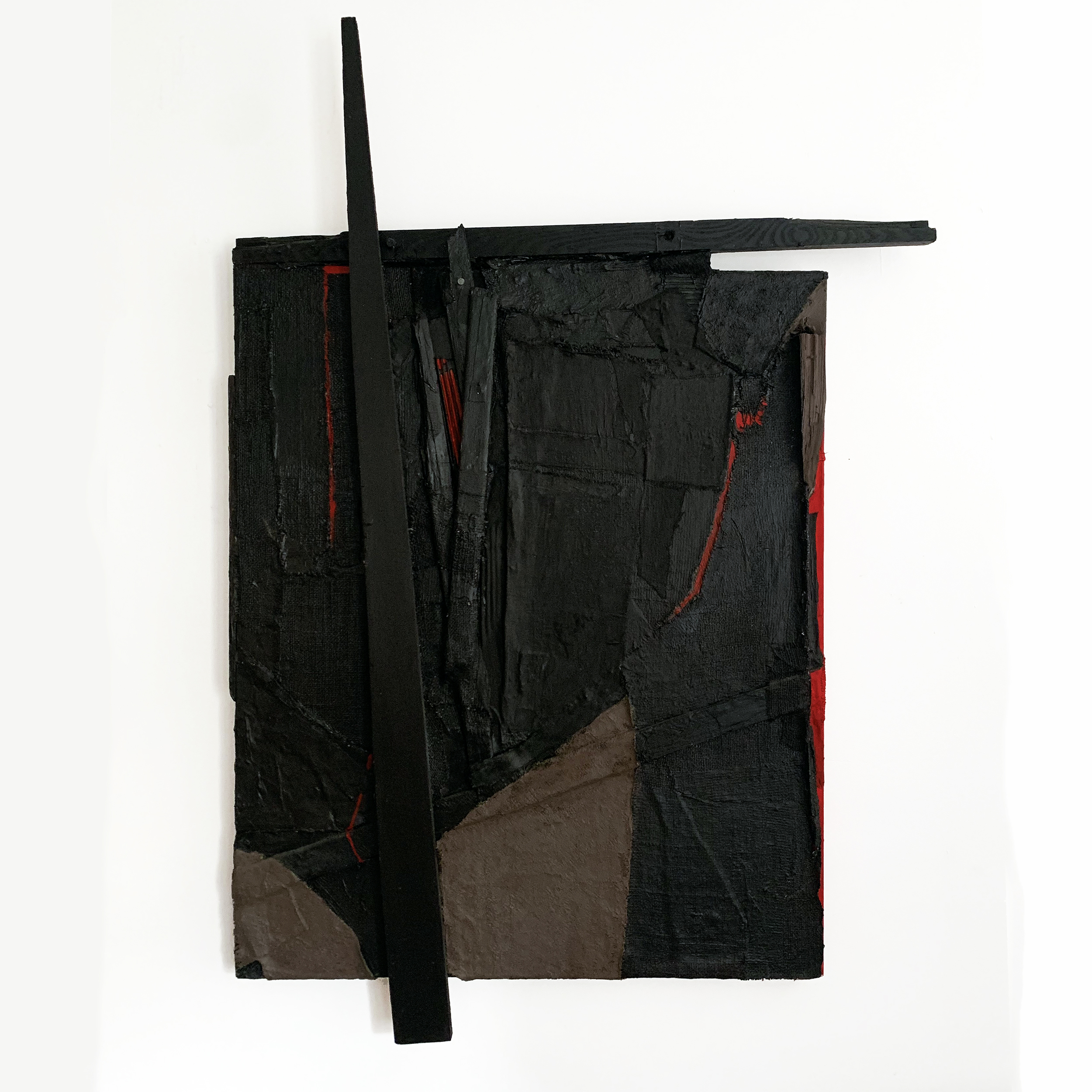 "Untitled, 2012, acrylic, fabric, paper, wood and cardboard on canvas, 48"" x 33"""