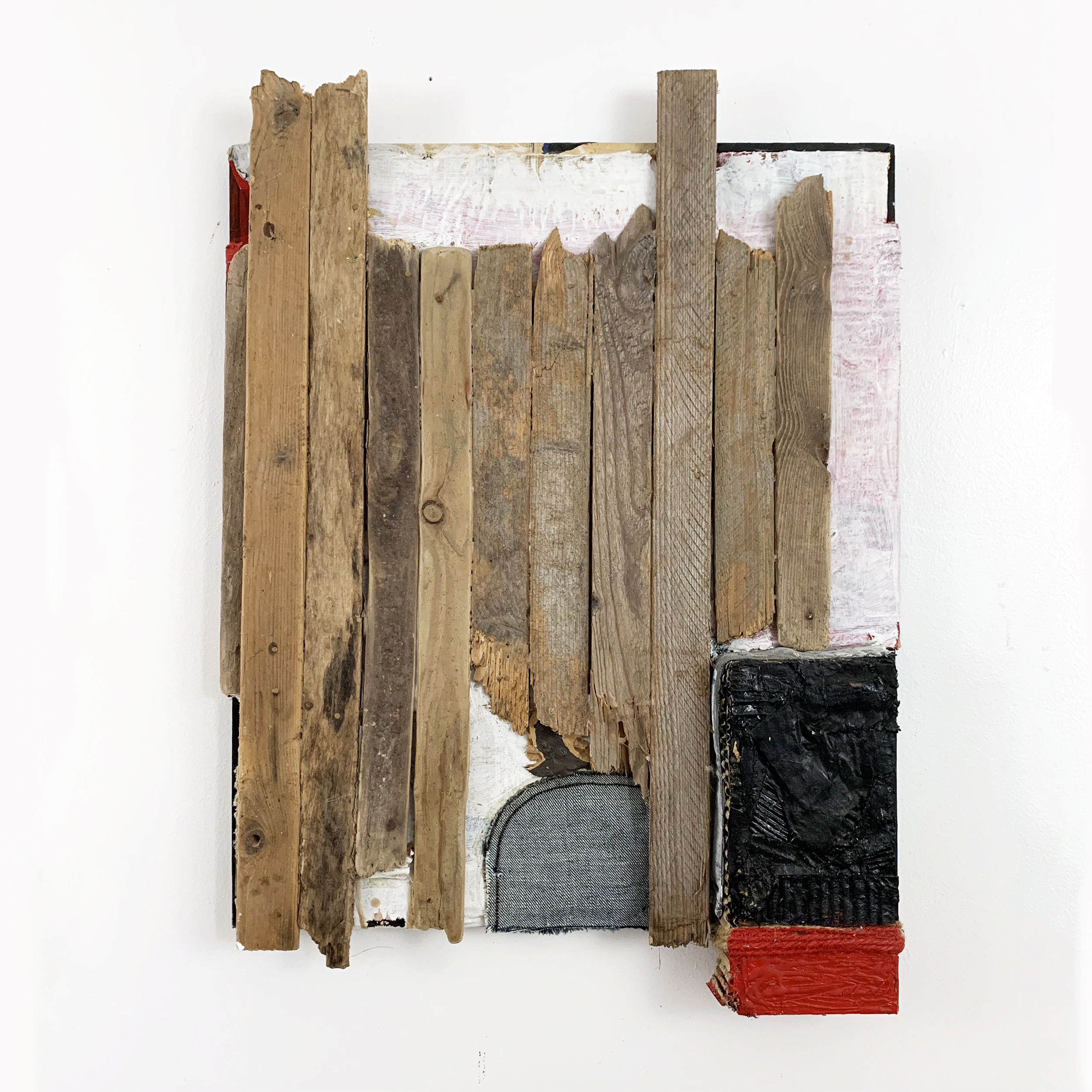 "Untitled, 2012, acrylic, fabric, twine, wood and cardboard on canvas, 24"" x 17"" x 2.5"""
