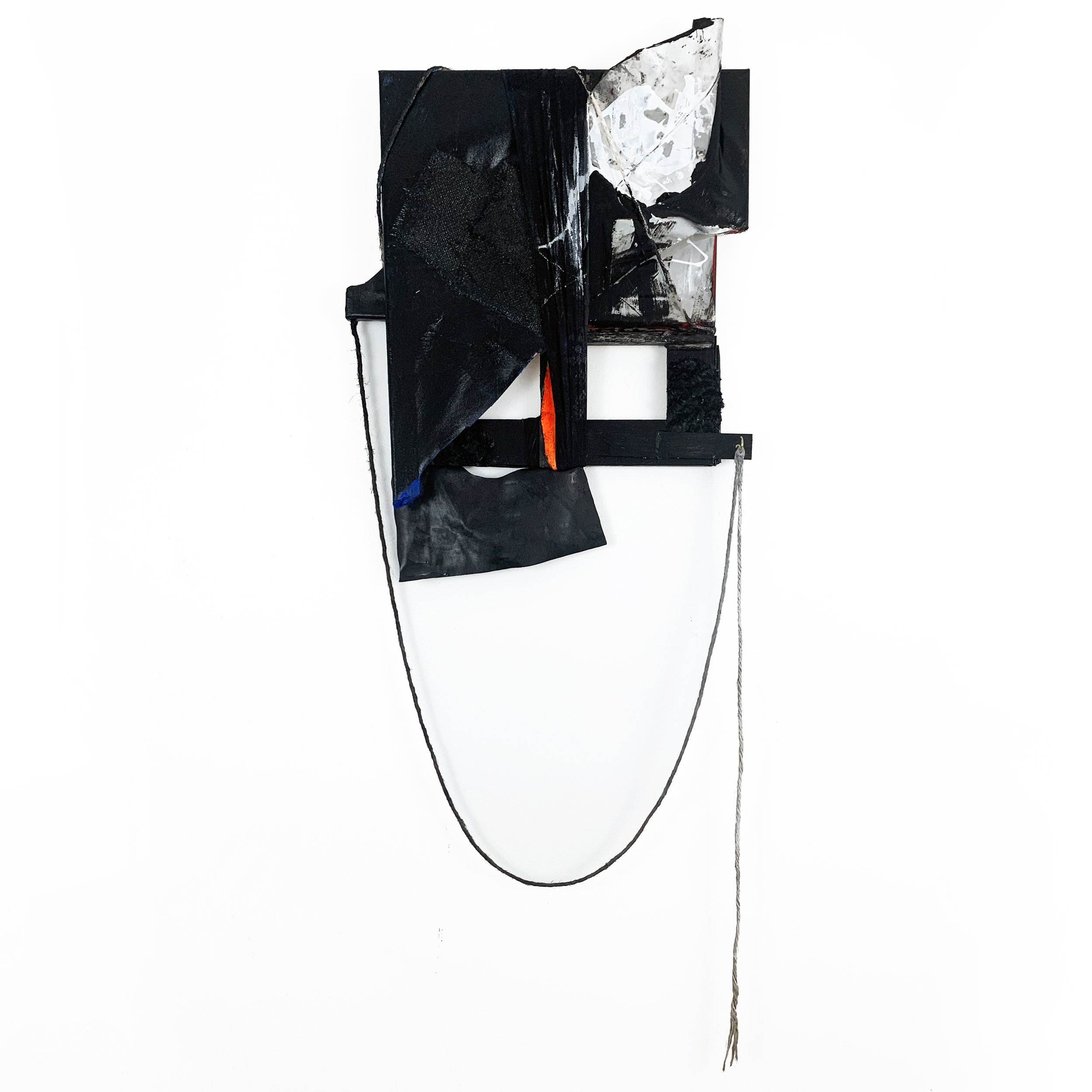"Multi-Panel Assemblage 9 (Orca), 2019, acrylic, fabric, foil, twine, wire and canvases, 45"" x 18"" x 2.5"""