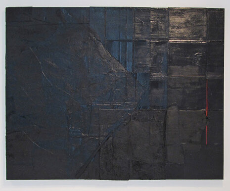 Alex Markwith,  Black Horizontal with Red Vertical) , 2013, 60 x 76""
