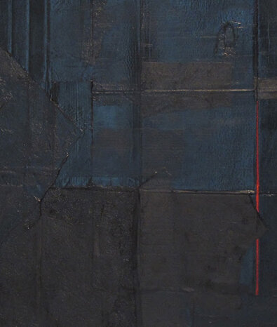 detail: Alex Markwith, Untitled (Large Black Horizontal with Red Vertical), 2013, 60 x 76""