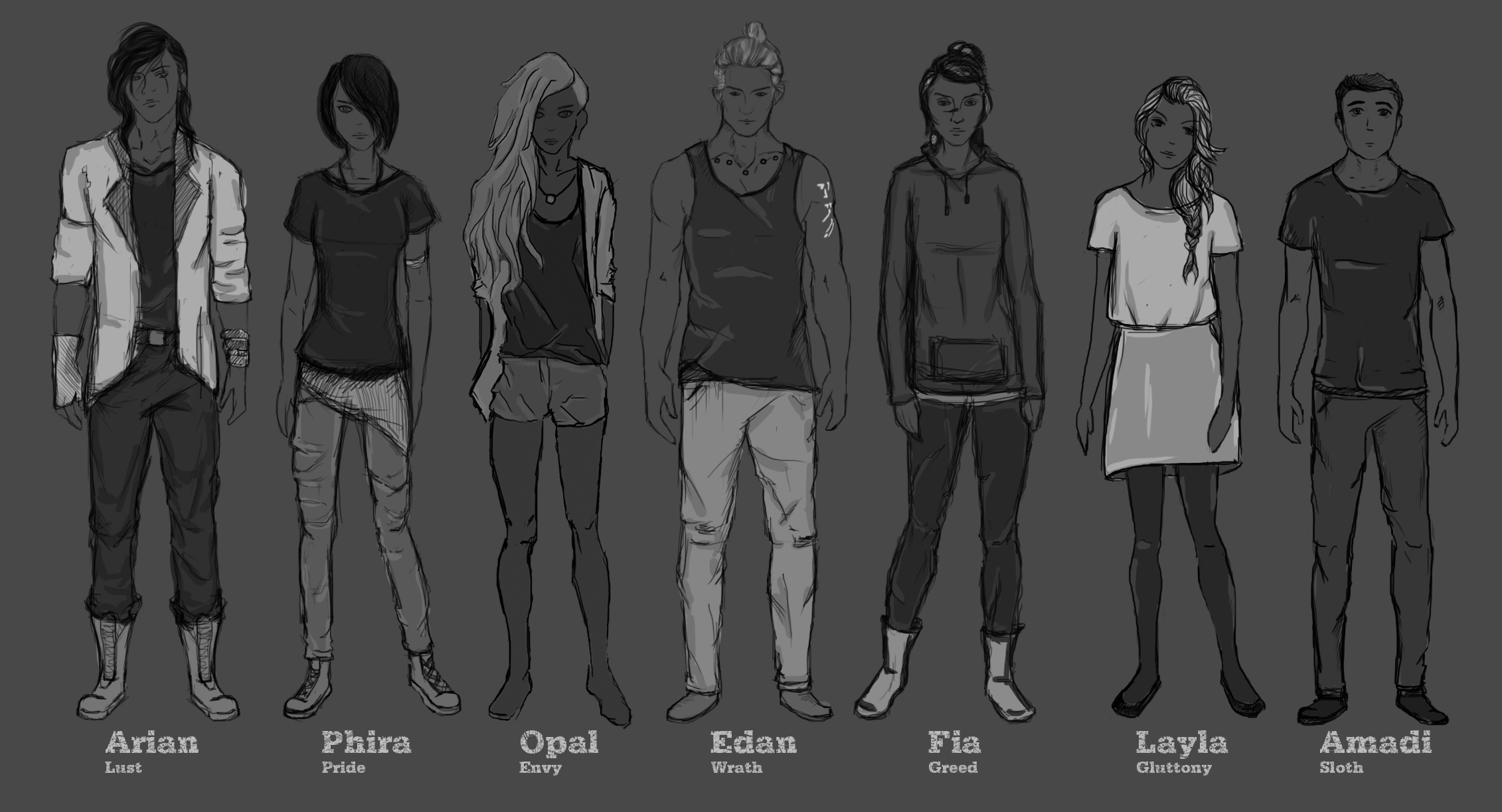 Seven main characters // To help build distinct personalities, each character were created basing on the seven deadly sins