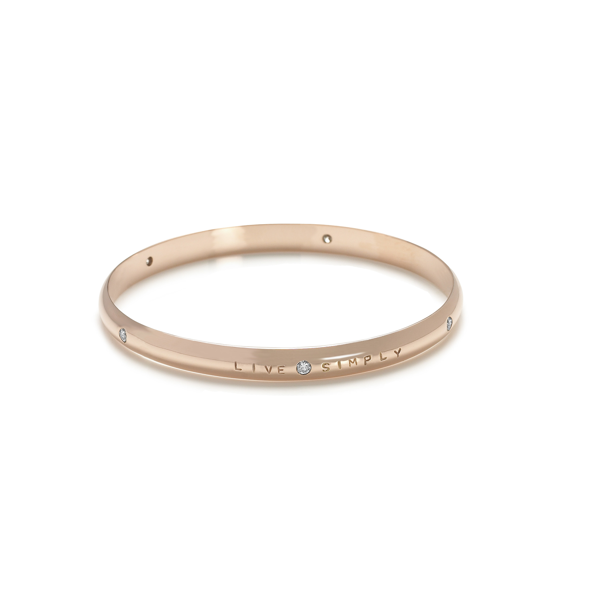 18ct Rose Gold Bracelet Bangle with Diamonds