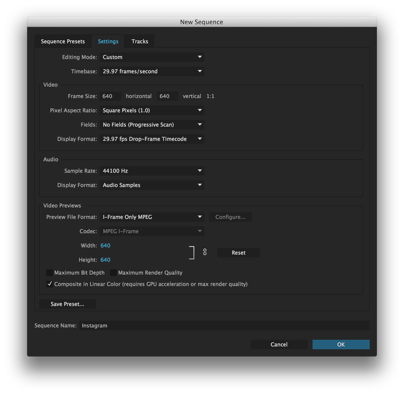 Set up your Premiere Pro Instagram sequence as shown above
