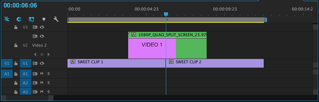 Use Quad Split Screen template as transition