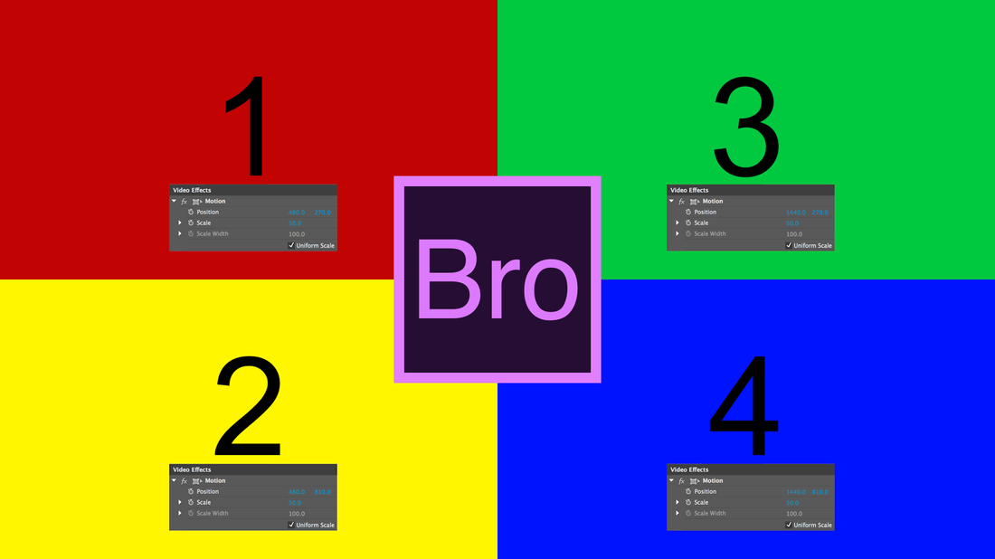 Use these Position and Scale values to create a 1080 HD Quad Split Screen in Premiere Pro