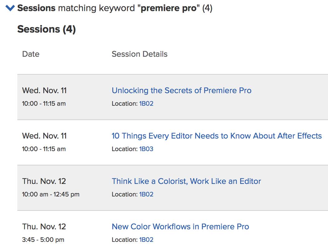 CCW Adobe Premiere Pro sessions
