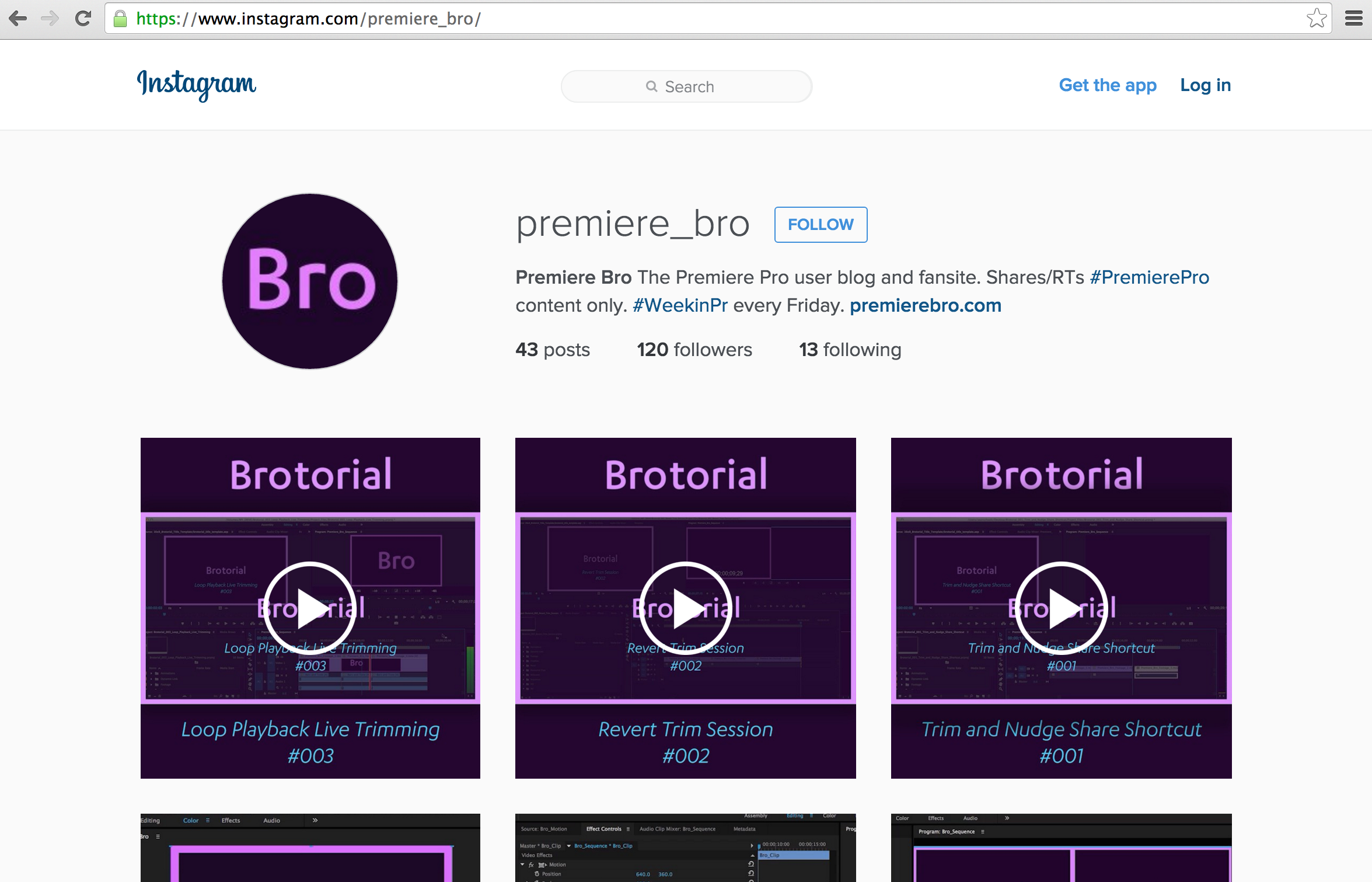 Premiere Bro Instagram