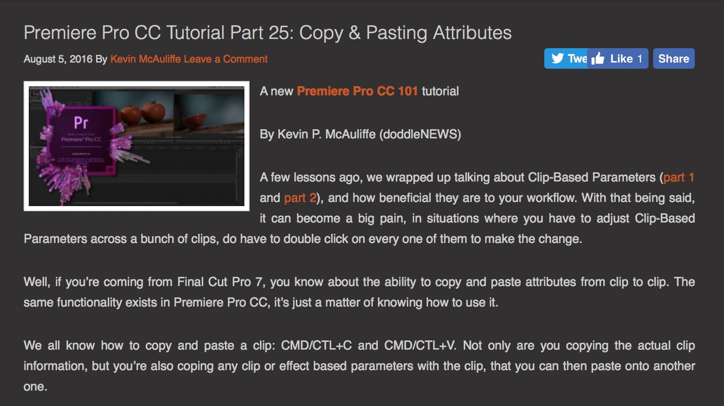 Premiere Pro CC Copy and Paste Attributes