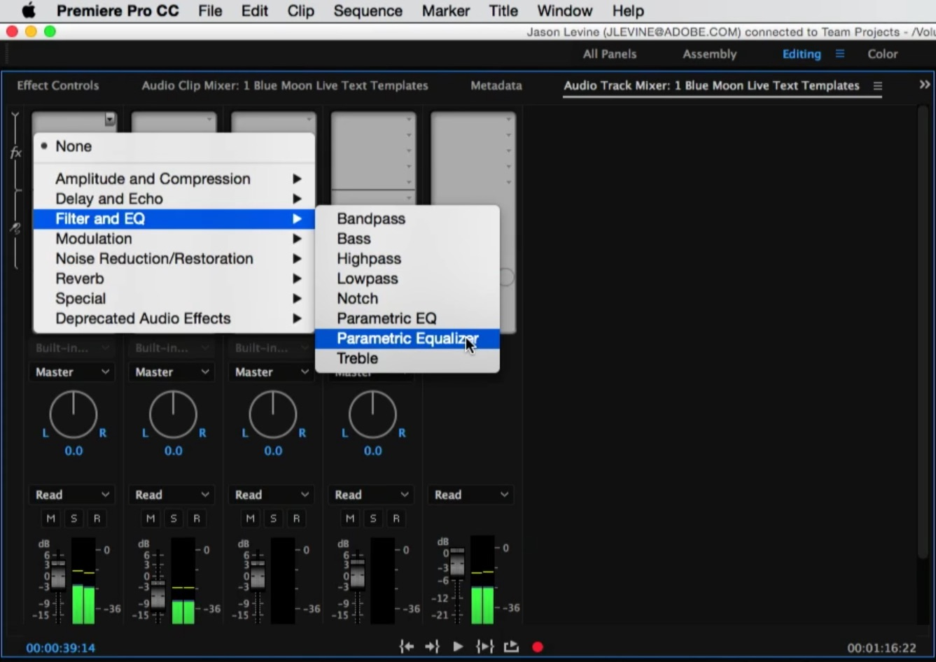 Some Adobe Audition effects will added in next version of Premiere Pro CC.
