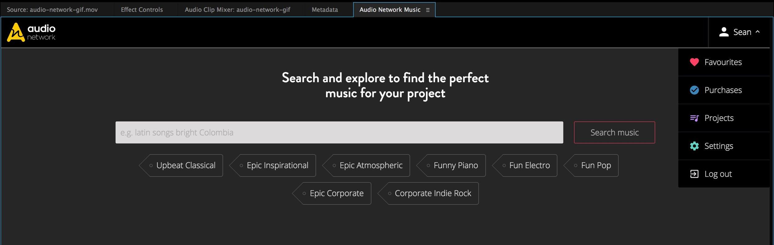 audio-network-premiere-pro-panel-home