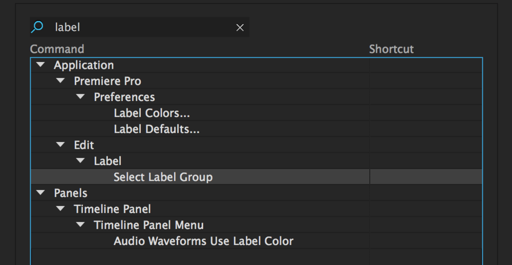 Assign a custom keyboard shortcut for Select Label Group.
