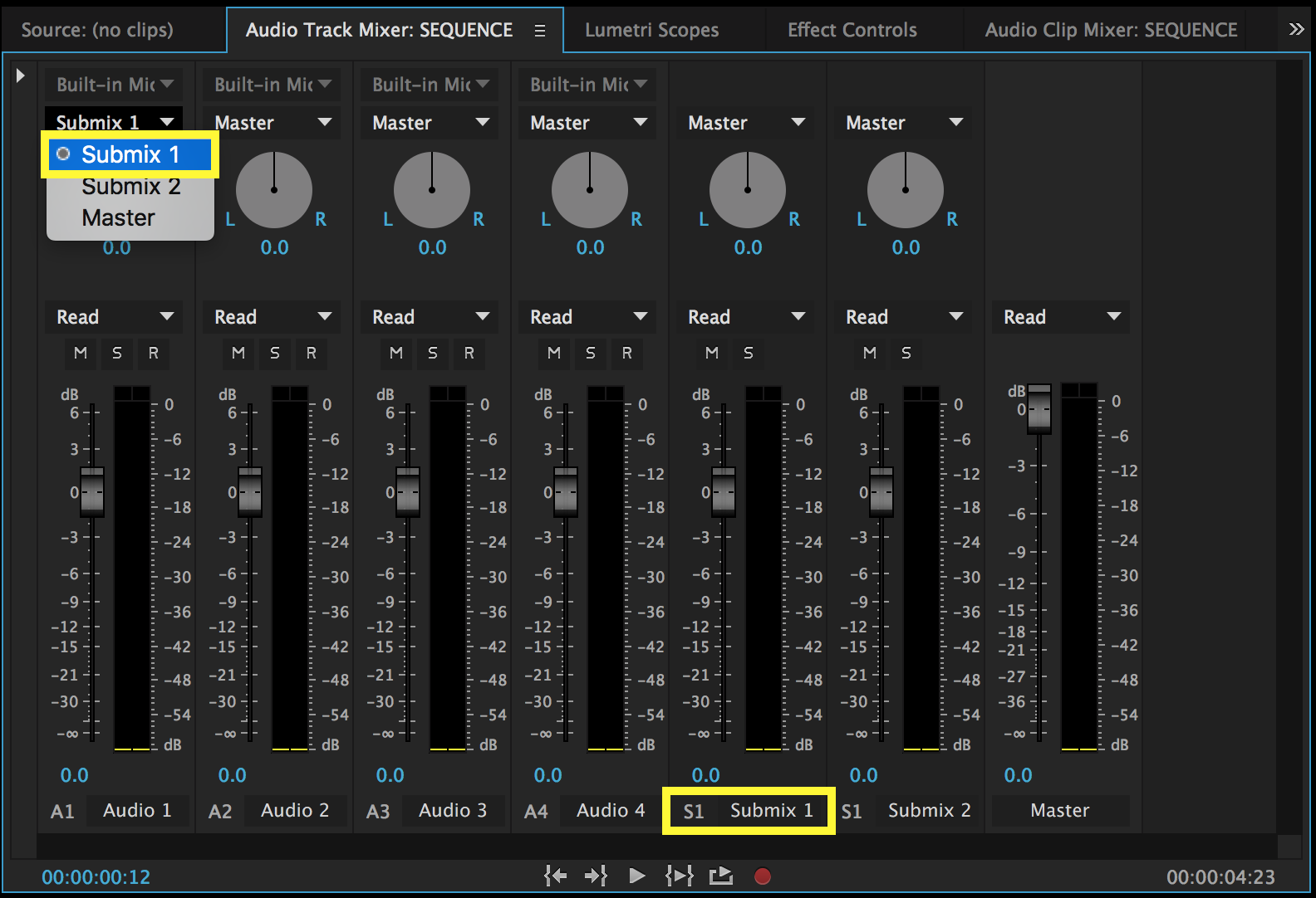Assign track outputs to Submix tracks in the Audio Track Mixer window.