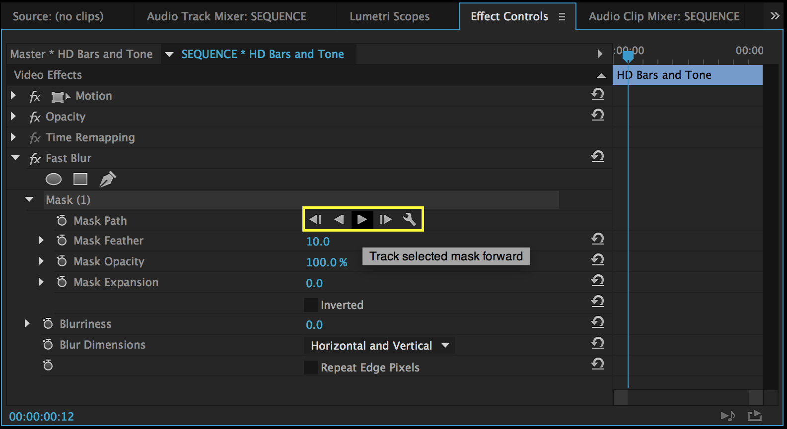 Clip masking and tracking tools are found under the Opacity settings. Applied effects have their own masking and tracking tools, as shown above.