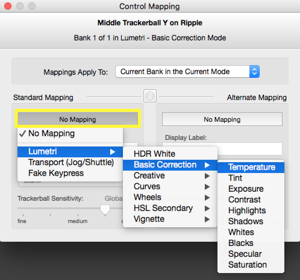 Assigning Temperature slider in Lumetri- Basic Correction mode.
