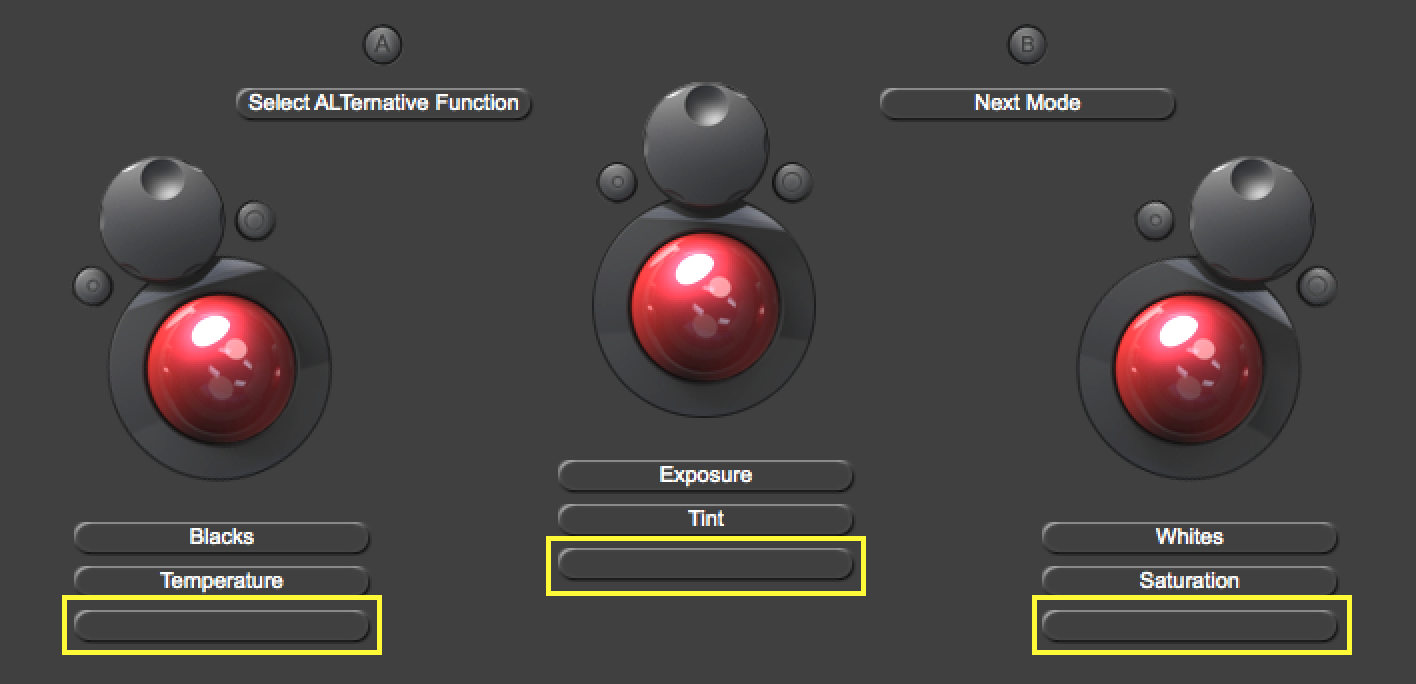 I assigned the trackerballs' Y functions to Contrast, Highlights and Shadows.