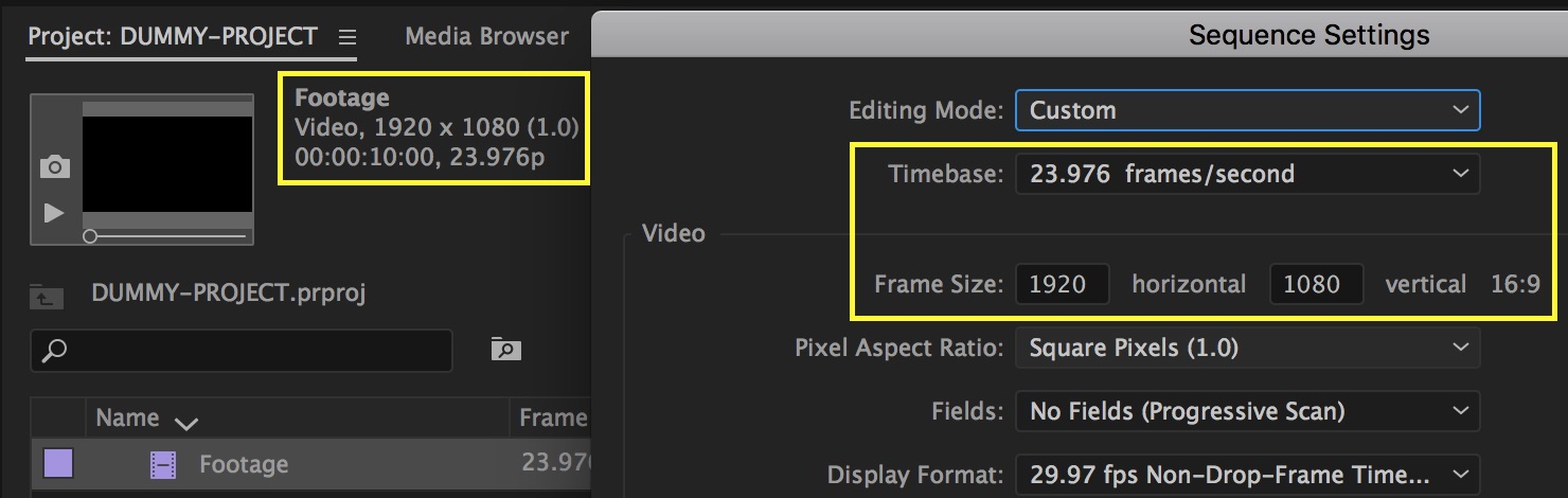 Footage that matches Sequence Settings will improve playback