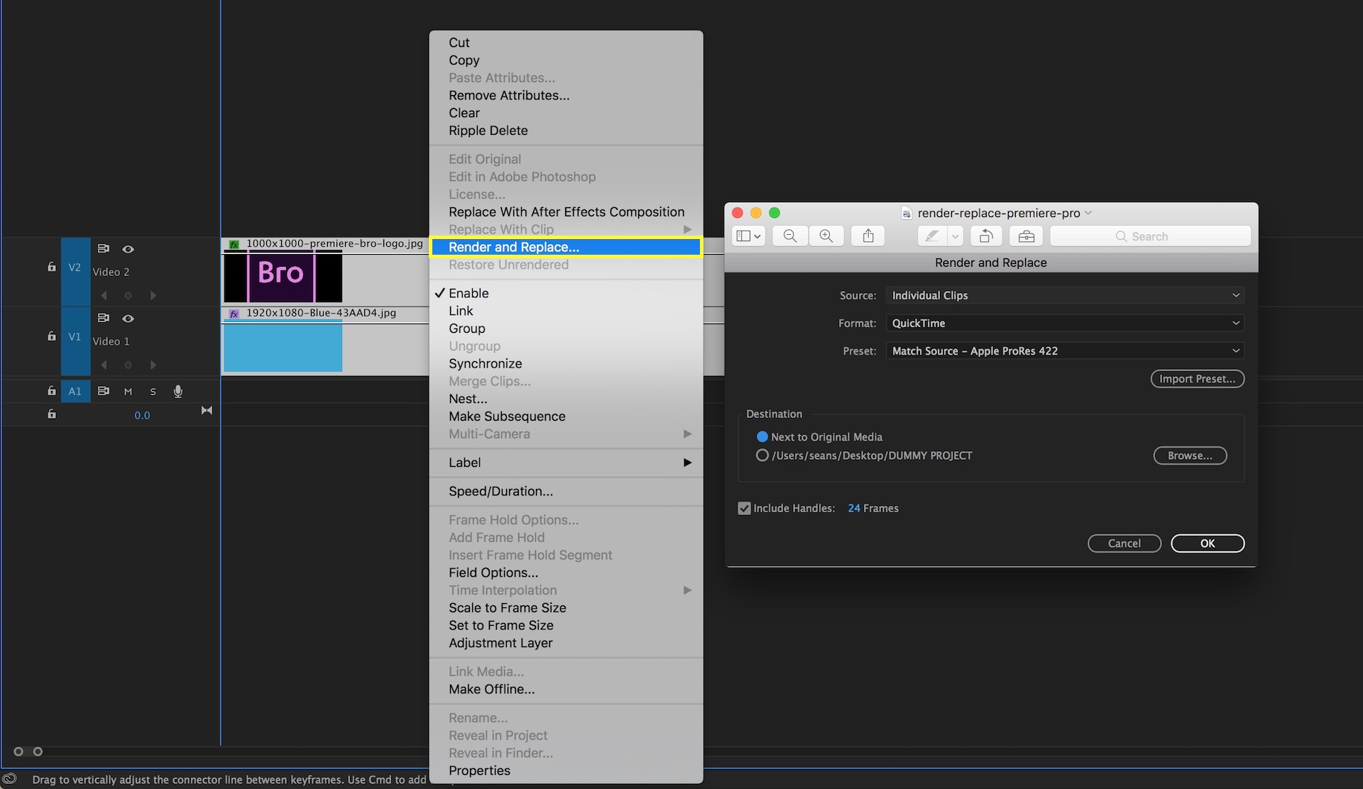 Render and Replace clips and Dynamically Linked comps for better playback