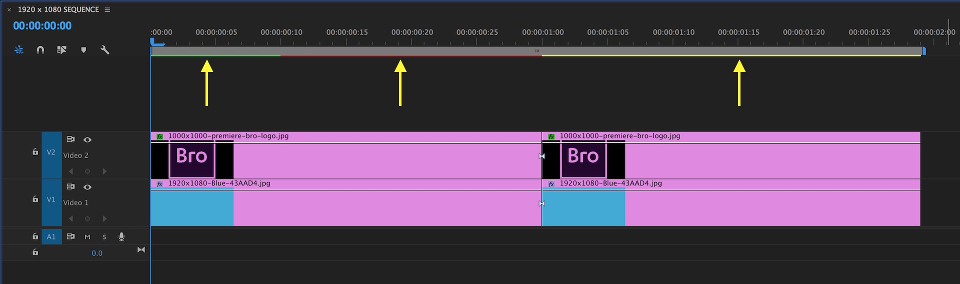 The render bar color indicates when preview files are available or need to be rendered