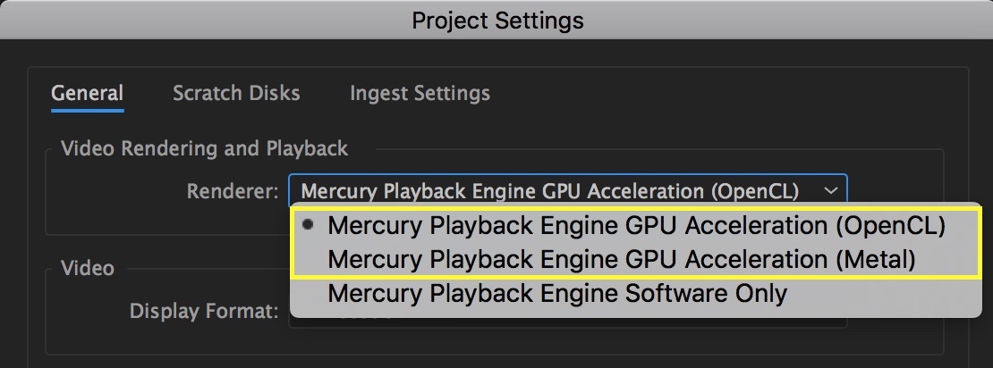 Set Renderer to Mercury Playback Engine GPU Acceleration