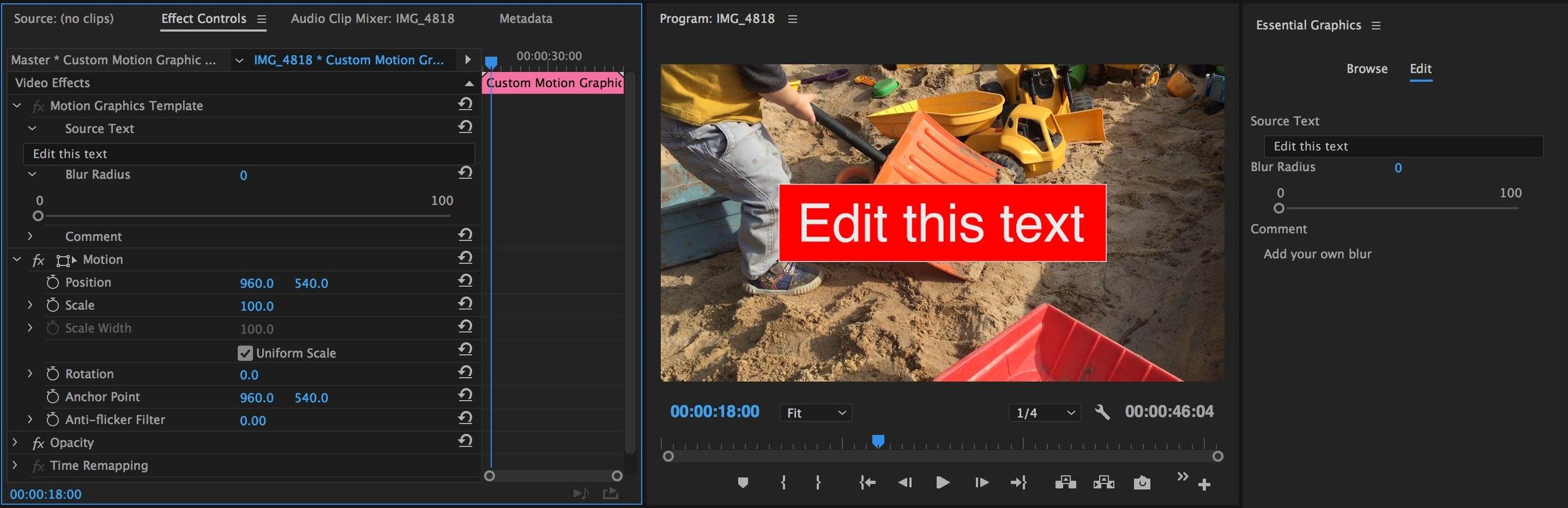 Edit Motion Graphics Templates in Premiere Pro