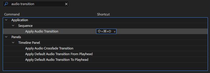 APPLY AUDIO TRANSITION KEYBOARD SHORTCUT
