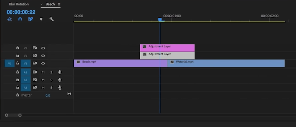 This is how your adjusment layers should be arranged in the Timeline.  Via Video School Online