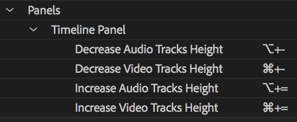 Track height keyboard shortcuts