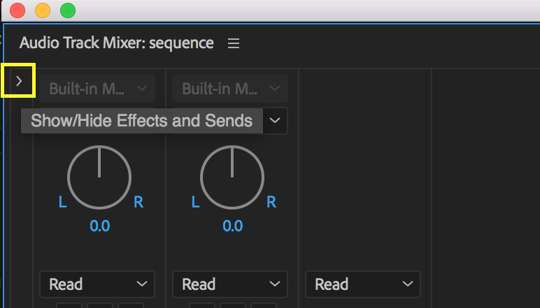 Click the disclosure triangle to open Effects and Sends in the Audio Track Mixer