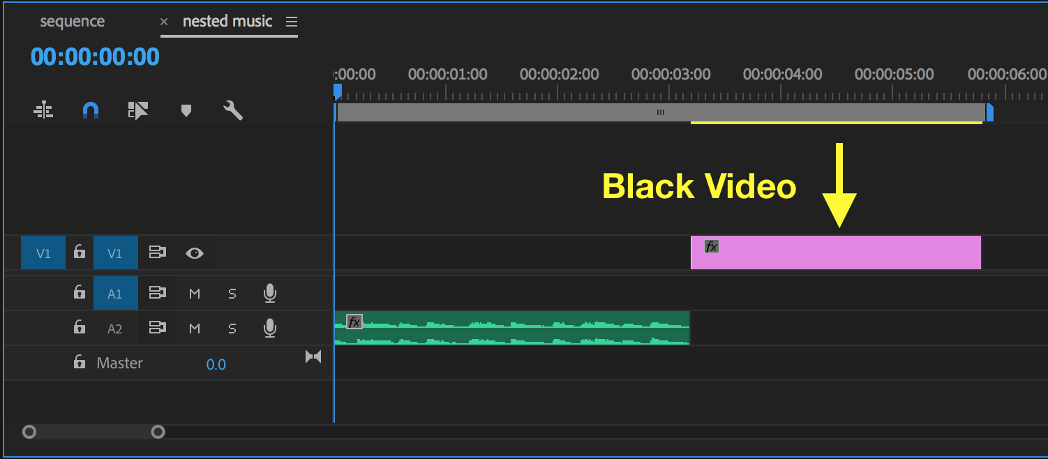 Use black video or slug to artificially extend the length of your nested sequence