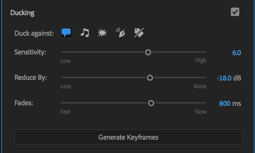 Auto Ducking settings in the Essential Sound panel