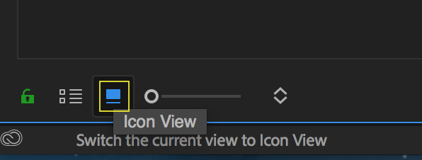 Toggle Icon View to preview effect templates in the Project panel