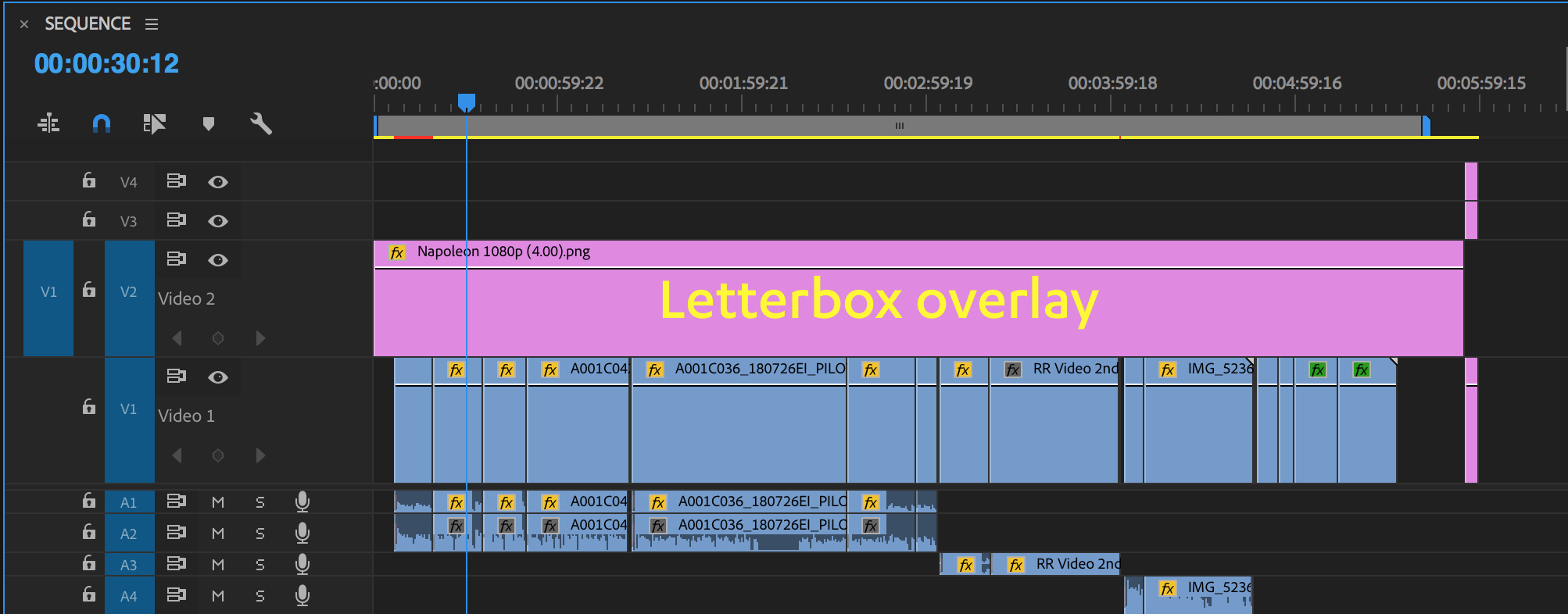 Drag the letterbox template over your edit