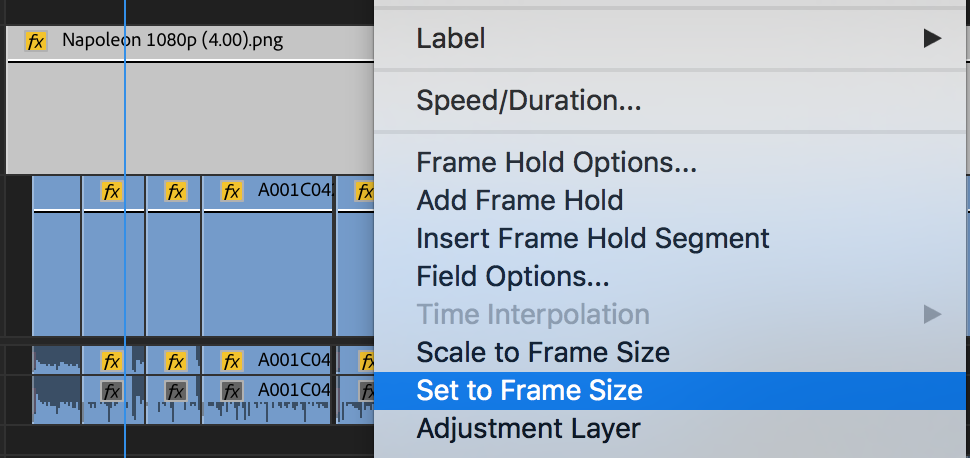 Use Set to Frame Size to match the letterbox to your footage
