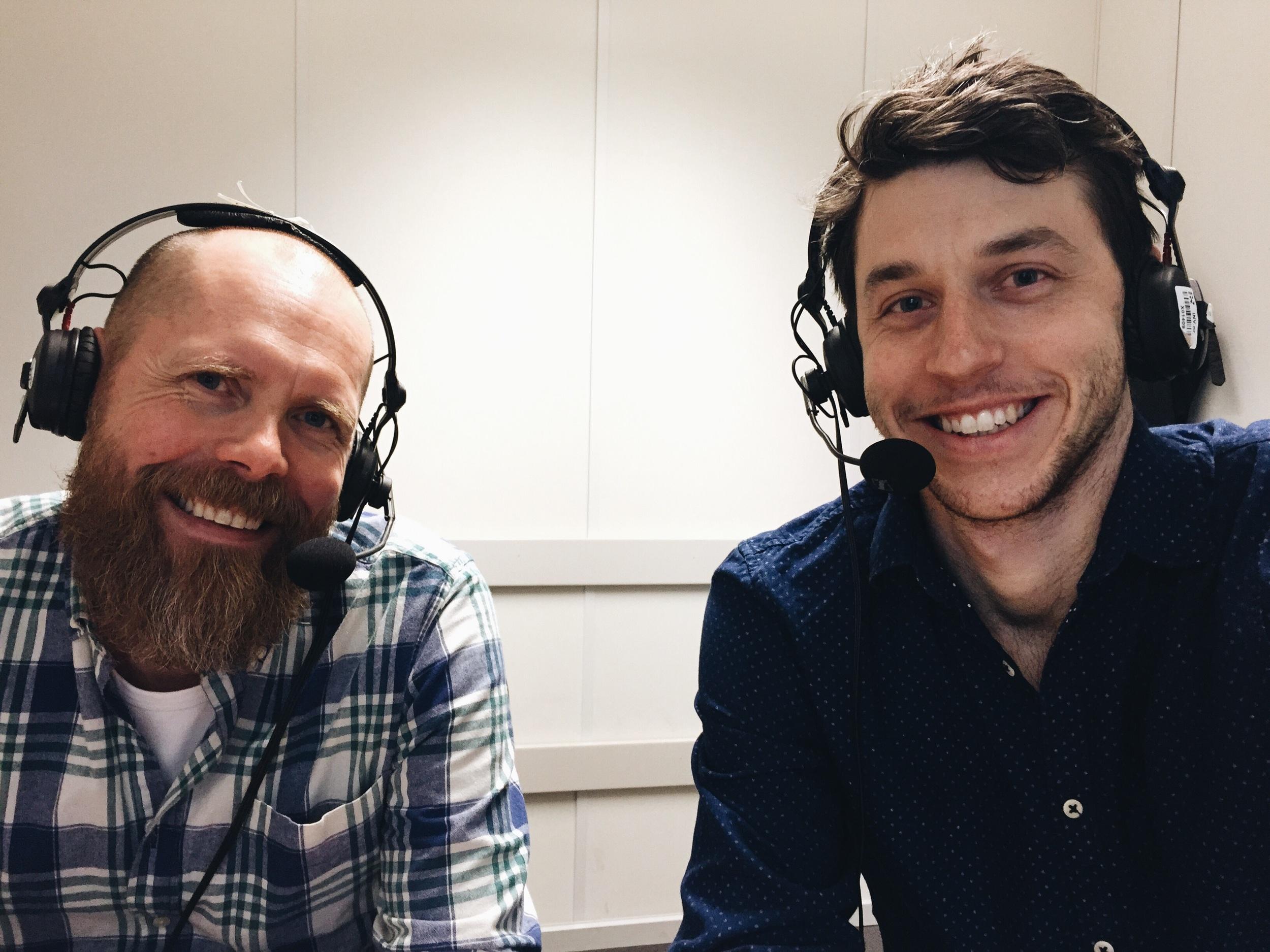 Anders och jag på Sveriges Radios grymt osexiga ljudbås i Malmö