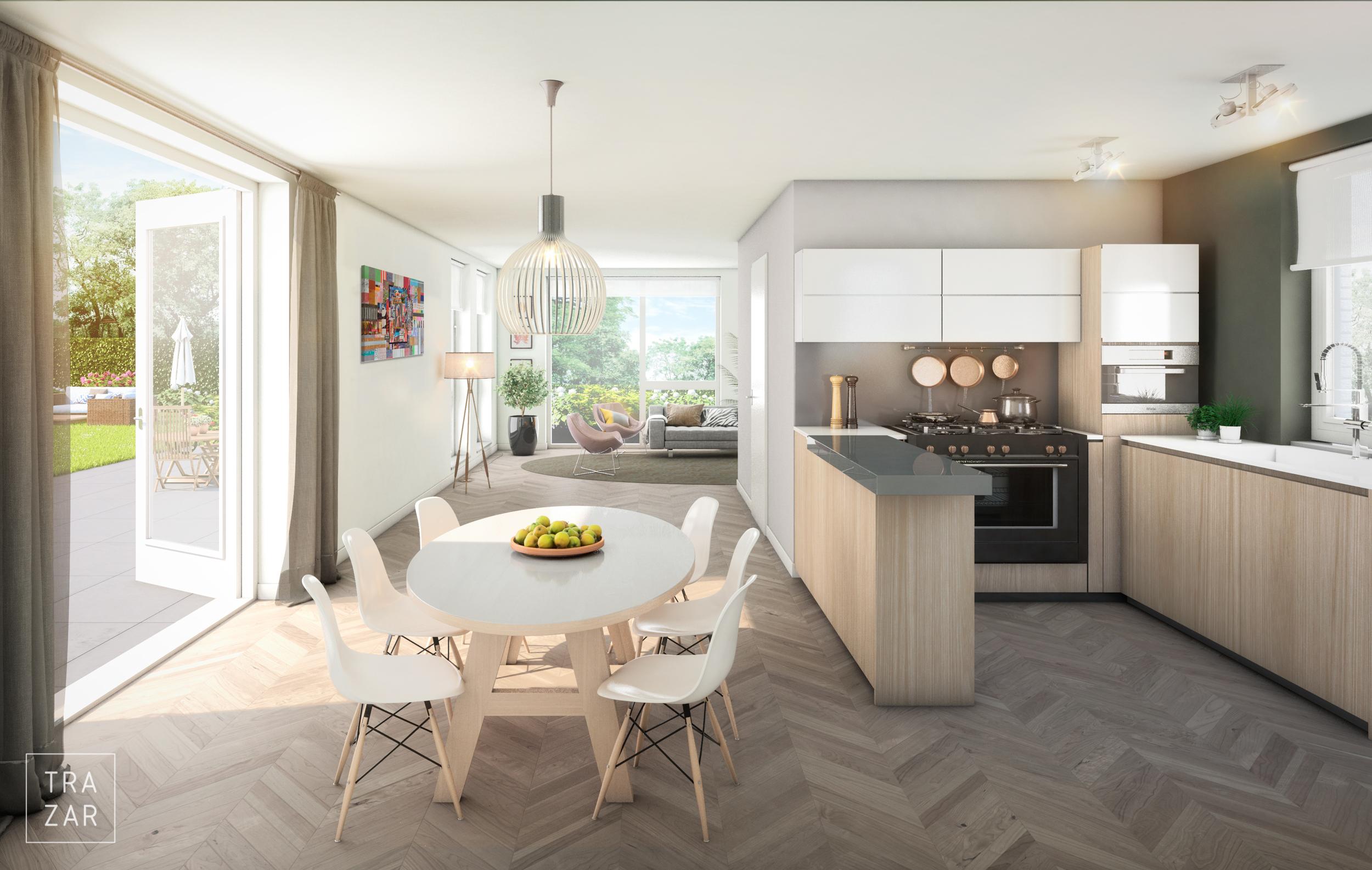 Artist impression interieur nieuwbouw met eetkamer, , zitkamer, keuken en tuin (5).jpg