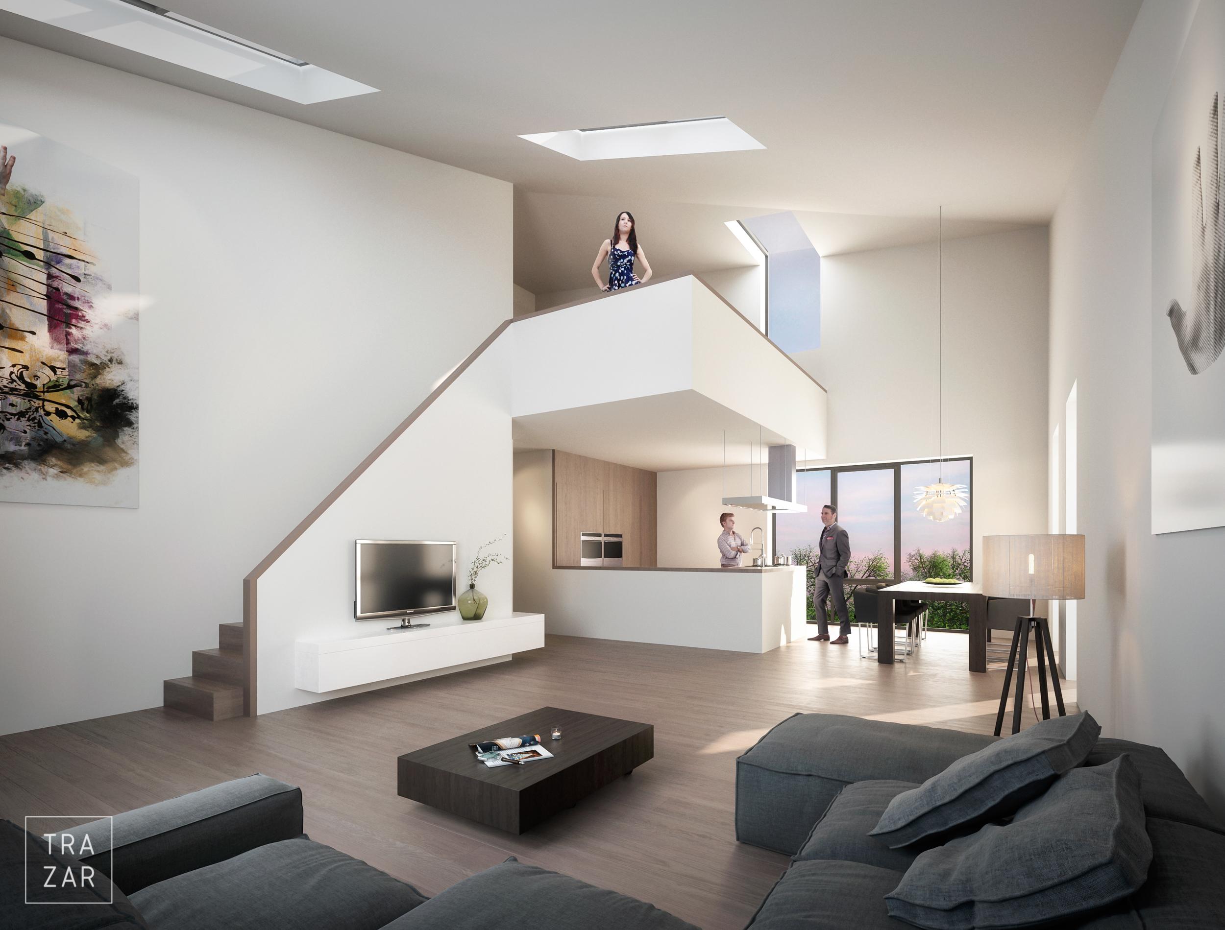 Artist impression interieur nieuwbouw met eetkamer, , zitkamer, keuken en tuin (11).jpg