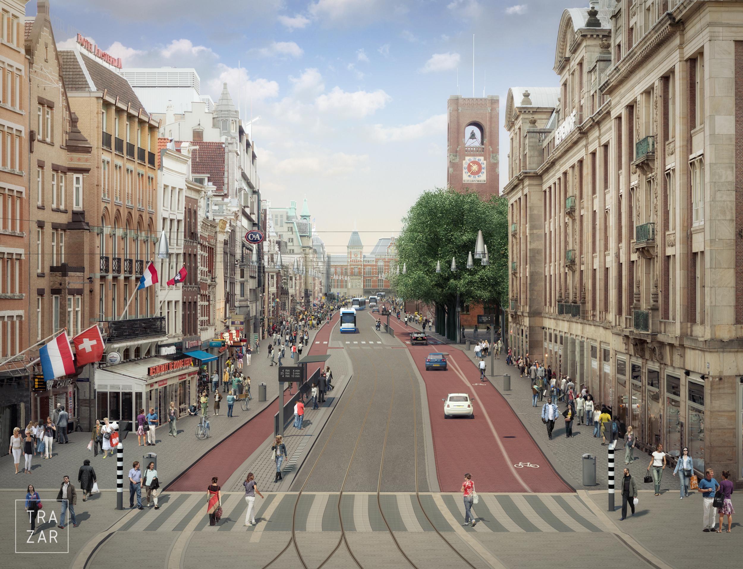 Artist impression herinrichting Rode Loper Amsterdam Damrak (2).jpg