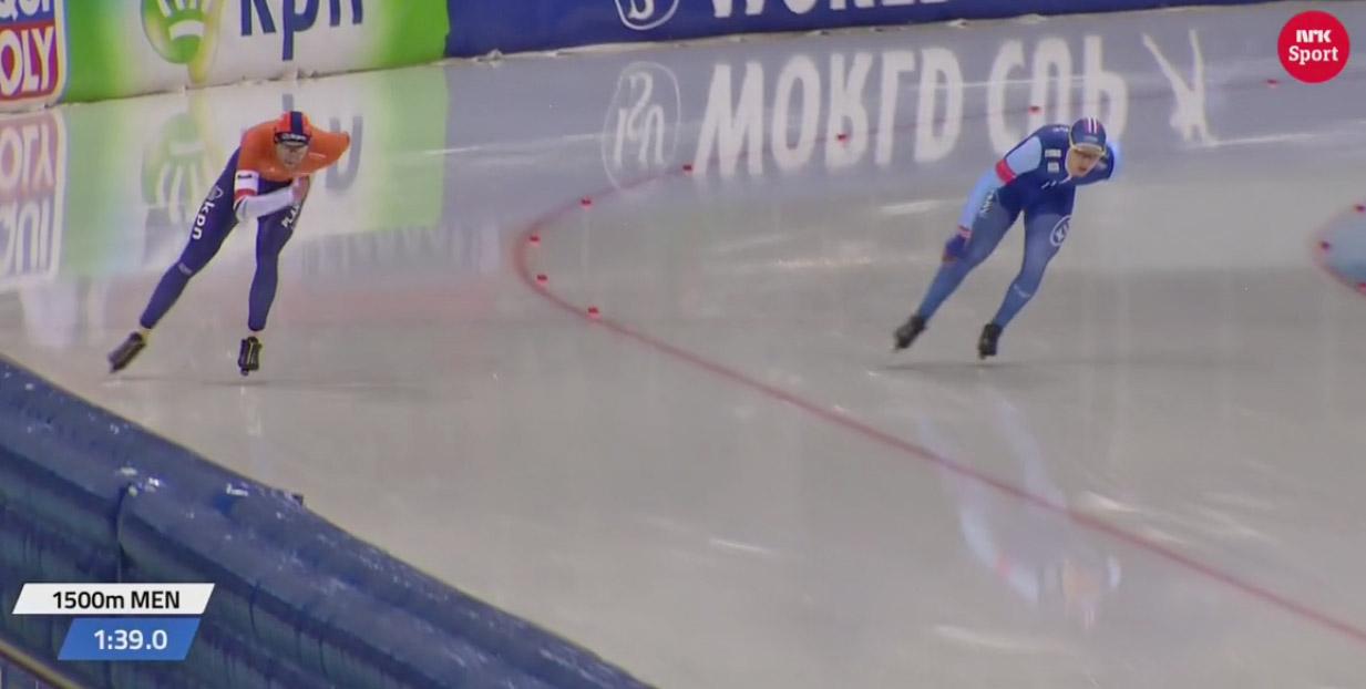 Allan i ferd med å passere Thomas Kroll (bilde fra NRK TV)
