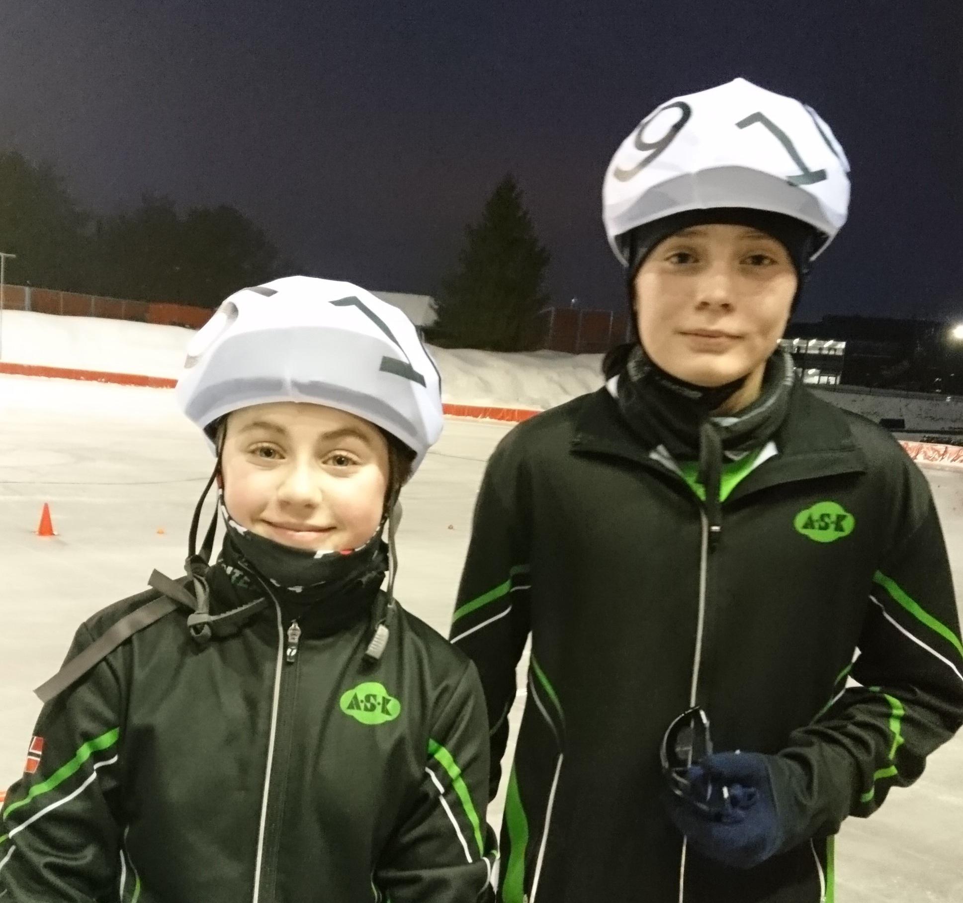 Emmeline Berentsen og Mads Nordhus etter 10 000 meter (Foto: Jo Wiklund)