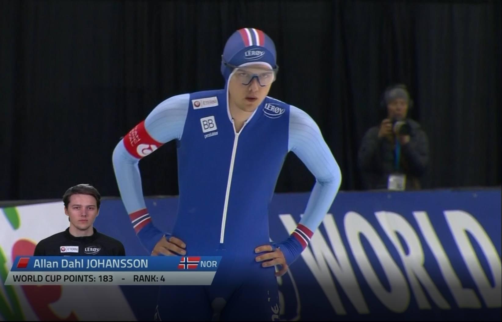 Allan gjør seg klar til start på 1500 meteren i Salt Lake City (bilde fra NRK)