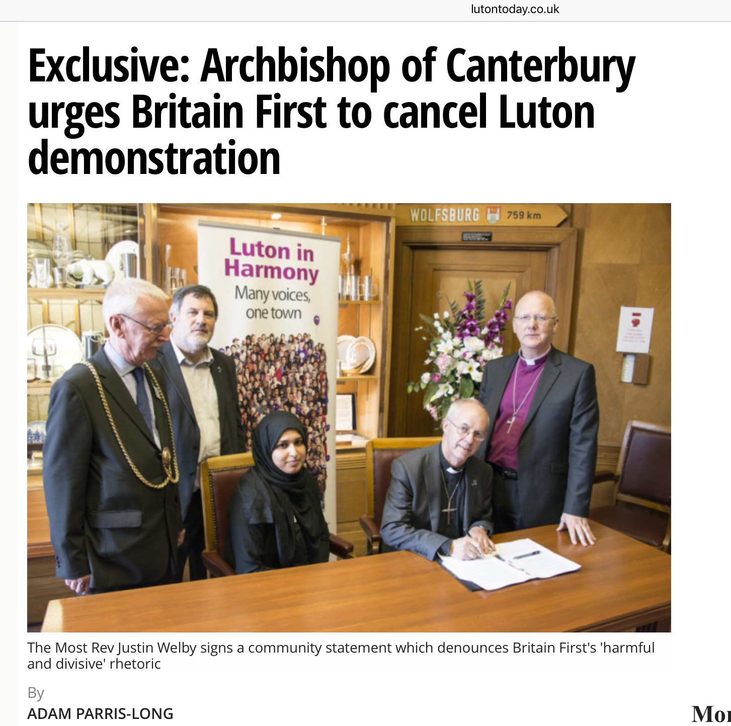 Yours truly with Rehana Faisal, Muslim community activist, ArchbishopmJustin, Luton Mayor Dave Taylor and Bishop Alan of St Albans.