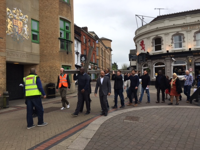 Town Centre Walk of Witness passes luton Crown Court.