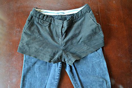 3.  Estimate about half an inch below the hemline of your shorts and mark that on your jeans with chalk, then cut on that line.