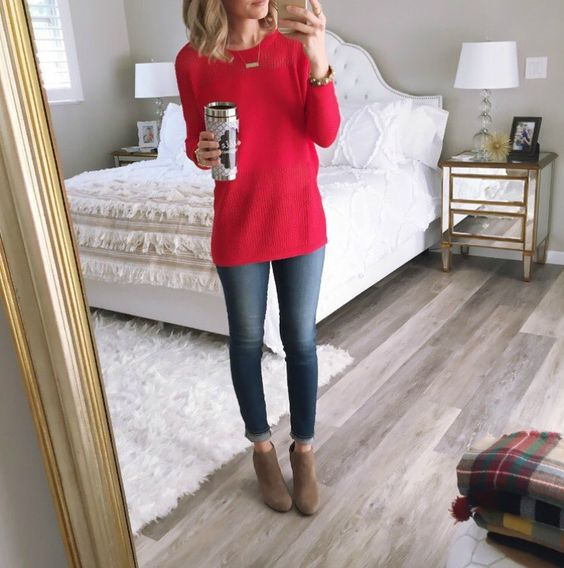 1. What's simpler than a red sweater and blue jeans with boots or booties? Don't forget your coffee!