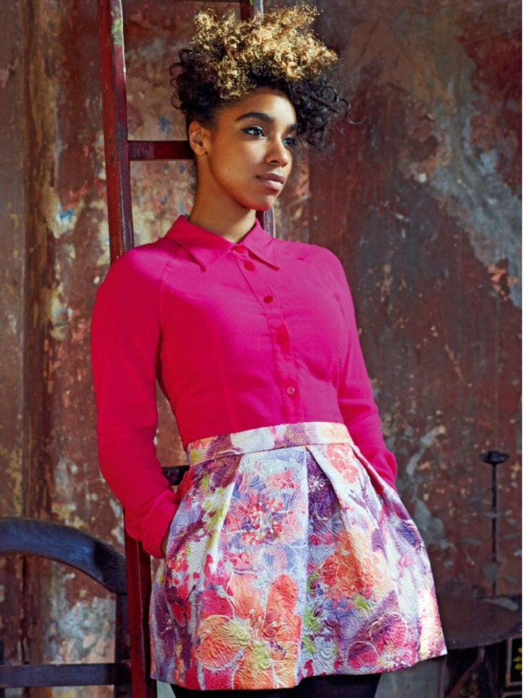 2. Spring is right around the corner. Get a headstart in a bright and vibrant floral print skirt and a pink blouse! Pair this outfit with dark coloured tights/stockings for a simple but bold look! Perfect for work or cocktails!