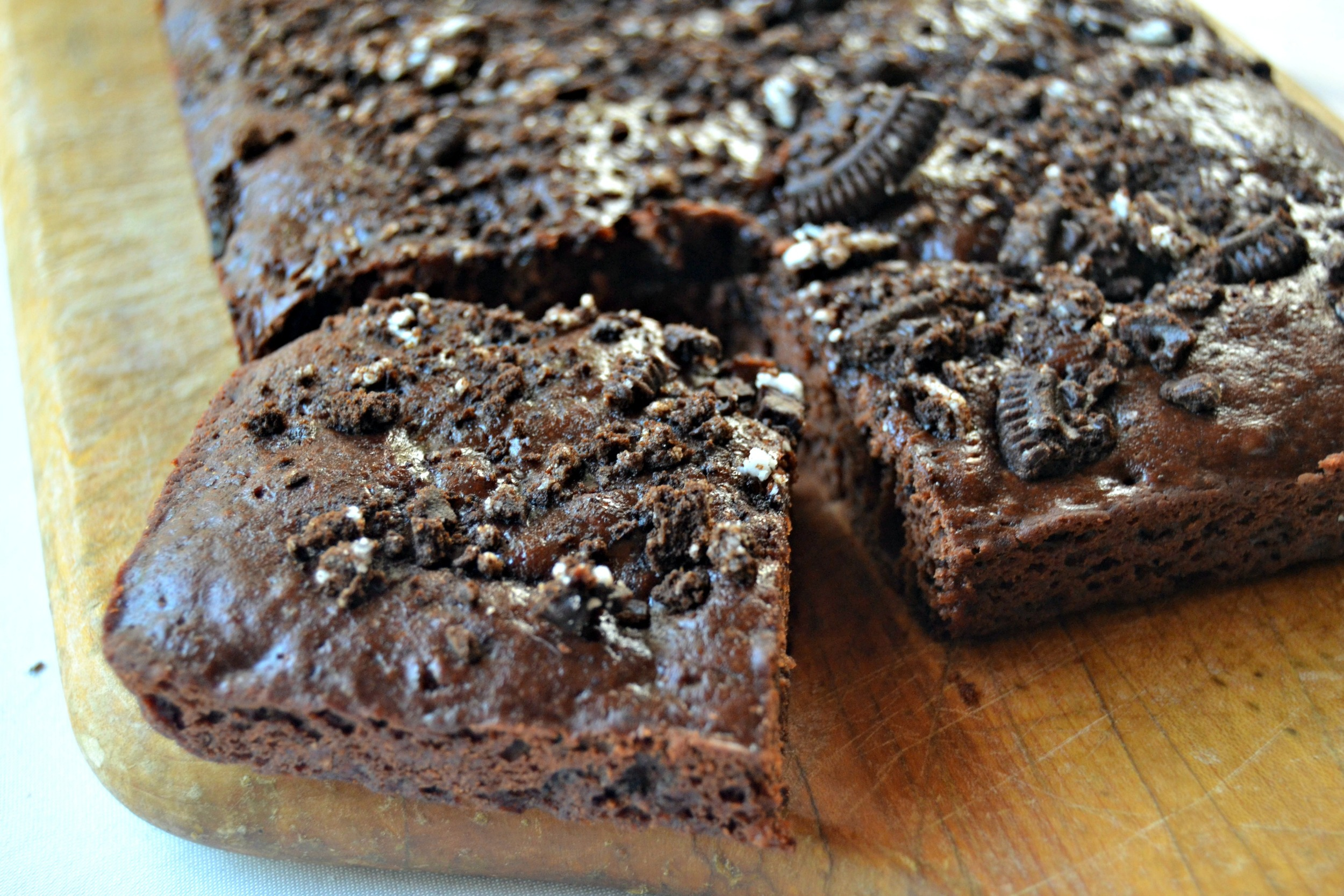 These brownies are ultra fudgy and chocolaty, thanks to the Oreo cookie chunks! They'll stay fresh for up to 3 days if stored in an airtight container.